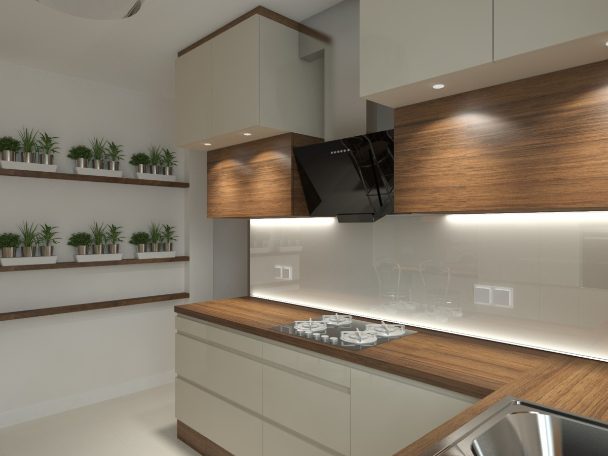 kuchnia z barkiem i winiarką (1)  Bitronao Design Studio -> Kuchnia Bialo Czarna Z Barkiem