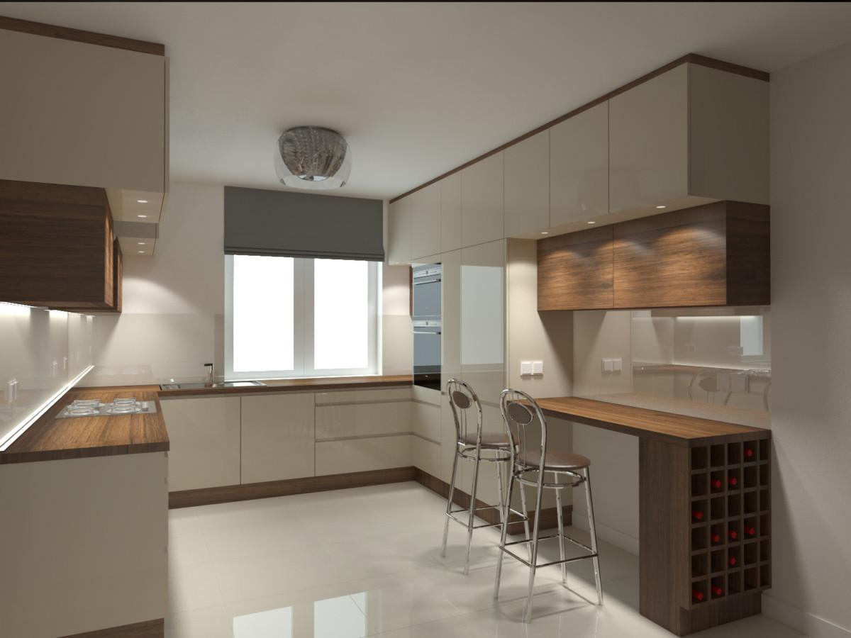 kuchnia z barkiem i winiarką (2)  Bitronao Design Studio -> Kuchnia Z Barkiem